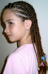 Little Girl Braided Style Below Is Two Layers Ponytail At Top And Straight Down In The Back